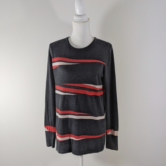 Halogen Grey Red Cream Long Sleeve Sweater
